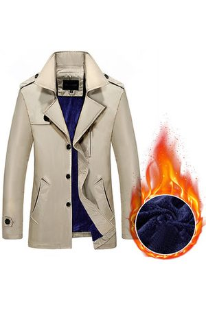 Newchic Men Trench Coats - Business Thick Fleece Lining Casual Trench Coat for Men