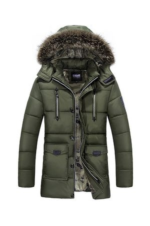 Newchic Winter Outdoor Thicken Warm Multi Pockets Detachable Hood Jacket For Men