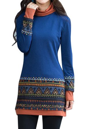 Newchic Women Long Sleeve - Women Folk Style Printed Long Sleeve Patchwork Turtleneck T-shirts