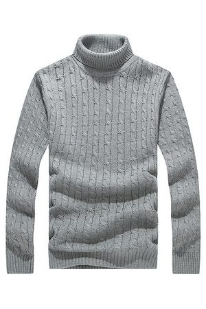 Newchic Men Winter Casual Thick Warm Turtleneck Solid Color Knitted Sweater