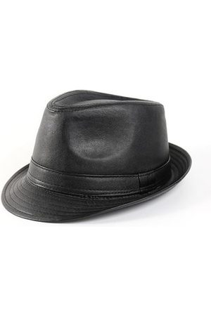 Newchic Men Hats - Men Women Leather Black Fedora Panama Jazz Cap Tea Party Bowler Casual Short Brim Gentleman Hats