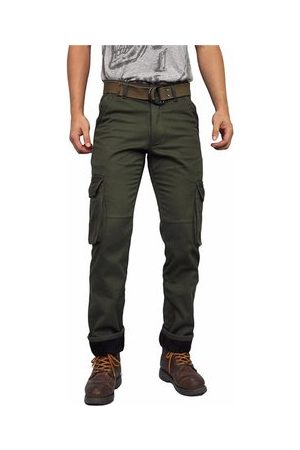 Newchic Mens Winter Thick Warm Cargo Pants Polar Fleece Lined Soild Color Multi-pocket Casual Trouser