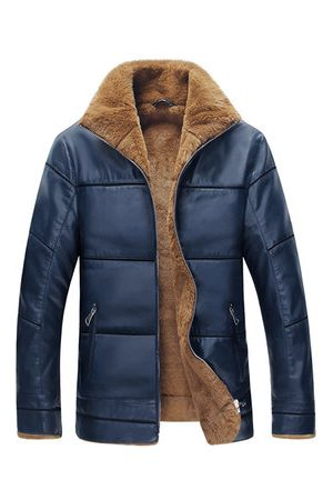 Newchic Men Leather Jackets - S-6XL PU Leather Stand Collar Jacket