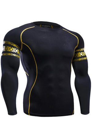 Newchic Mens Fitness Training Tight Sport T-shirt Elastic Quick-drying Long Sleeve Sport Tops