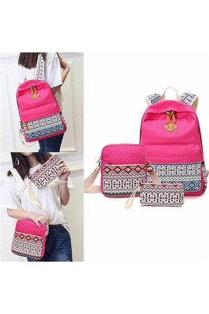 Newchic Women Rucksacks - Canvas Tribal 3pcs Rucksack Crossbody Bag Tote Casual Bags