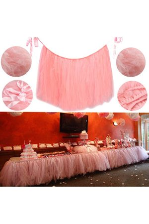 Newchic Baby Skirts - Pink 80*100cm Tulle Tutu Table Skirt Wedding Birthday Baby Shower Tableware Decoration