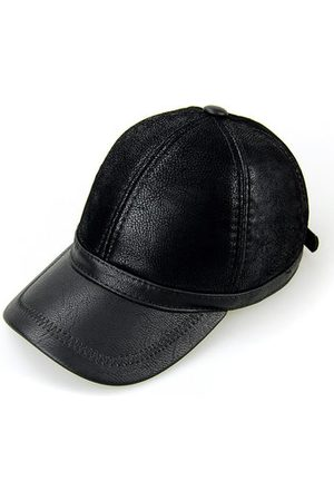 Newchic Men Hats - Men PU Leather Baseball Cap Polo Hat Black Earflap Earmuffs Snapback Hat