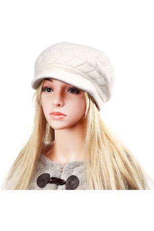 Newchic Women Beanies - Women Fur Blend Wool Beret Hat Thicken Warm Plush Lining Beanie Outdoor Ski Hat