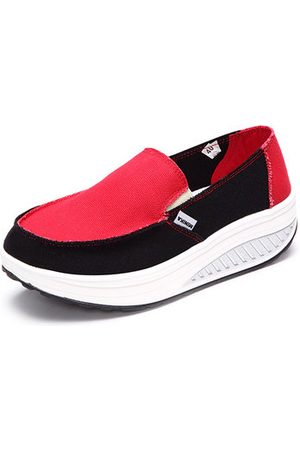 Newchic Canvas Color Blocking Sport Running Rocker Sole Casual Outdoor Shoes