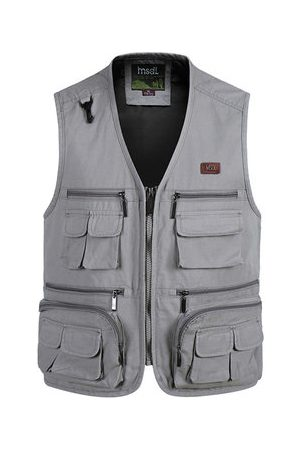 Newchic Outdoor Fishing Pure Cotton Multi Pockets Photographic Multi Functions Vest Waistcoats for Men