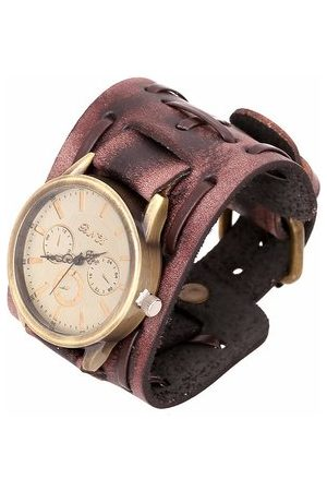 Newchic Punk Vintage Watch Retro Rock Leather Bracelet Watch for Men Gift