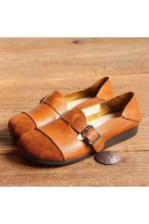Newchic SOCOFY Buckle Multi-Way Color Blocking Soft Leather Flat Loafers