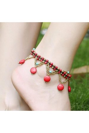 Newchic Women Anklets & Toe-rings - Bohemian Turquoise Beads Braided Copper Bell Anklet