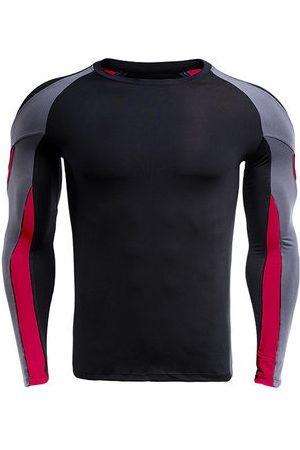 Newchic Mens Casual Contrast Color Printing Fitness Tight T-shirt Breathable Training Tops