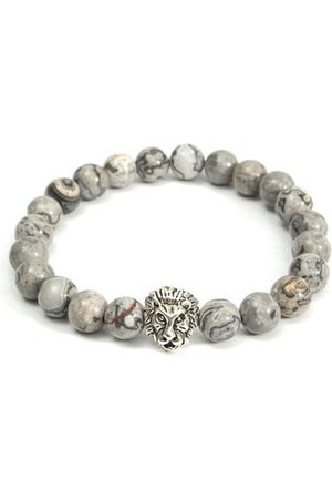 Newchic Gray Beads Lion Head Elastic Bracelet