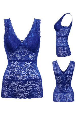 Newchic Women Sexy Ultrathin Full Lace Bra Vest Deep V Breathable Vest Underwear