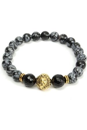 Newchic 8mm Agate Alabaster Lion Head Bracelet