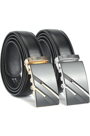 Newchic Men Second Floor Cowhide Gold Silver Alloy Adjustable Automatic Buckle Belt Length Randomly