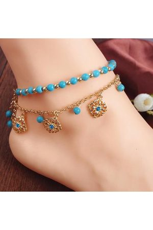 Newchic Bohemian Turquoise Beads Alloy Chain Anklet