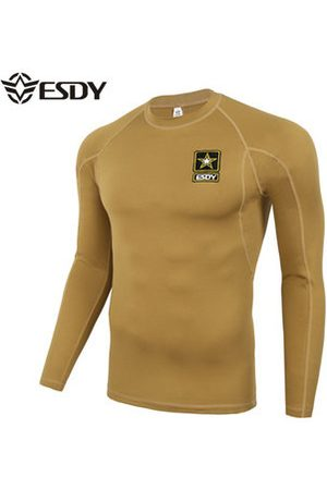 Newchic ESDY Mens Outdoor Tactical Sports Elastic Fitness Long Sleeved T-shirts