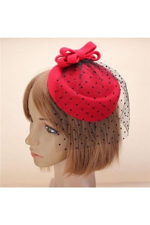 Newchic Women Work Dresses - Women Fascinator Pillbox Felt Wool Hat Hair Clip Formal Dress Bowknot Veil