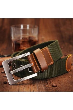 Newchic Mens Canvas Cowhide Trimmings Single Buckle Woven Belts