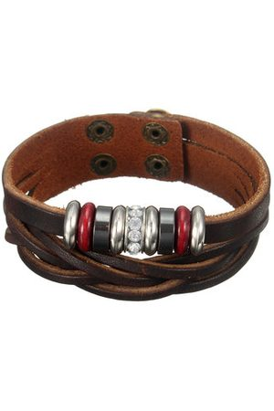 Newchic Punk Leather Beads Braided Wristband Bracelet