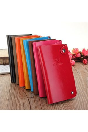 Newchic Women Men Candy Color ID Card Holder Credit Business 30 Card Holder Hasp Case