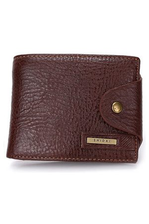 Newchic Men Business Casual Genuine Leather Black Coffee Short Wallet Purse Card Holders