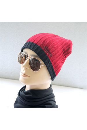 Newchic Men Knitted Hat Patchwork Sport Ski Cap Warm Casual Crochet Beanie Hat