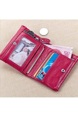 Newchic Women Wallets - Women Genuine Leather Candy Color Casual Short Wallet Ladies Elegant Cards Purse