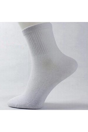 Newchic Men's Fishnet Stockings Cosy Cotton Casual Sports Solid Color Middle Tube Socks