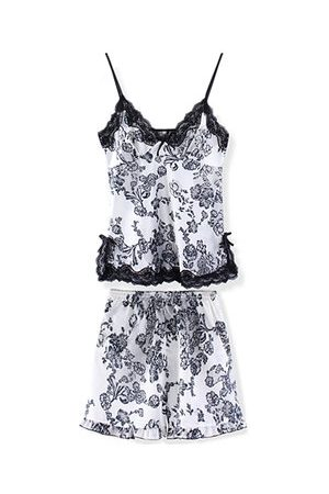 Newchic Women Shorts - Plus Size Women Sexy Satin Nightwear Deep V Floral Shorts Sleepwear Sets