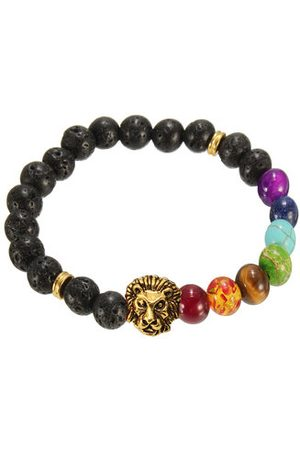 Newchic Men Bracelets & Bangles - Lava Rock Alloy Gold Lion Head Beads Bracelet