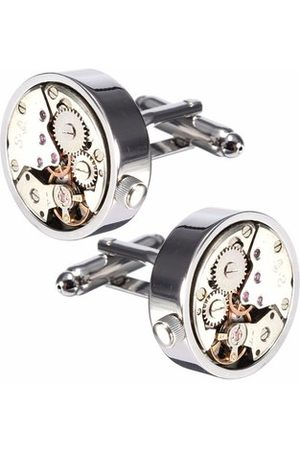 Newchic Men Cufflinks - Men Silver Cufflink Mechanical Watch Pattern Cufflinks Wedding Gift Suit Shirt Accessories