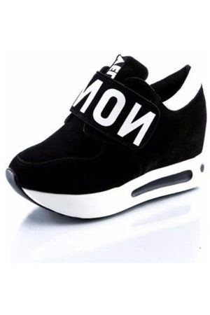 Newchic White Letter Cloth Hook Loop Flat Running Sport Casual Shoes