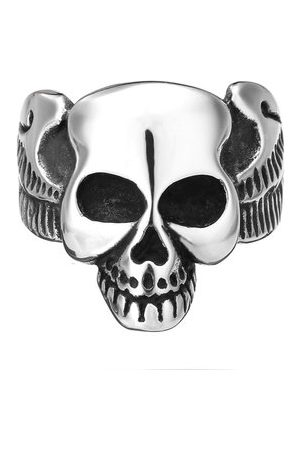 Newchic Punk Stainless Steel Skull Head Ring