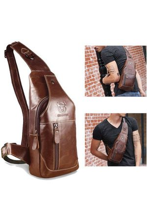 Newchic Men Laptop Bags - Bullcaptain Men Genuine Leather Business Casual Chest Bag