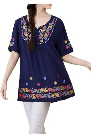 Newchic Women Short Sleeve - Embroidery Patchwork T-shirts
