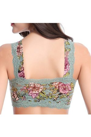Newchic Women Bras - Sexy Floral Printing Lace Vest Bra