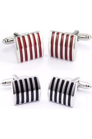 Newchic Men Stripe Metal Cufflinks Copper Enamel Square Accessories for Shirt