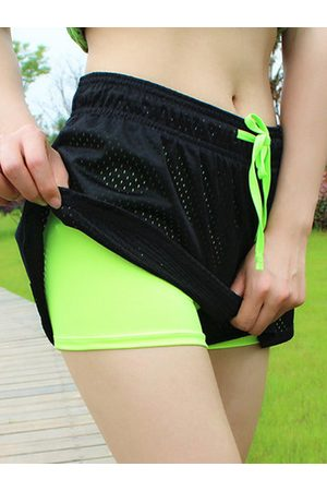 Newchic Women Shorts - Breathable Pretend Two-pieces Sports Shorts Elastic Yoga Running Short Pants For Women