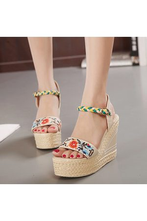 Newchic Women Sandals - Flower Embroidery Leather National Wind Weave Buckle Peep Toe Platform Sandals
