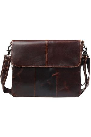 Newchic Mans Genuine Leather Bags Cowhide Briefcase Business Bags Solid Handbag Shoulder