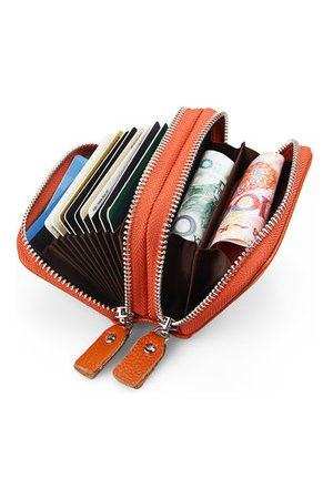 Newchic RFID Antimagnetic Women Men Genuine Leather Zipper Card Holder Purse