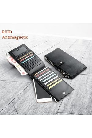 Newchic Business Genuine Leather Long Black Multi Pocket Card Holder