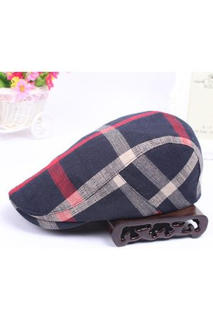 Newchic Men Vintage Cotton Beret Cap Travel Leisure Striped Lattice Newsboy Hat