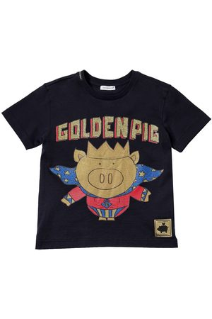 Dolce & Gabbana Golden Pig Print Cotton Jersey T-shirt