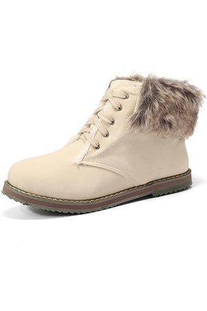 Newchic Multi-Way Wearing Fur Lining Lace Up Ankle Boots