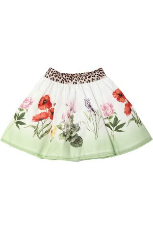 MONNALISA Girls Printed Skirts - Flowers Print Cotton Muslin Skirt